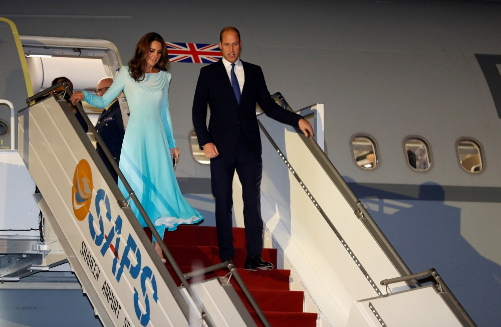 Britain's Prince William and Catherine, Duchess of Cambridge, arrive in Islamabad, Pakistan, on Monday. — Reuters