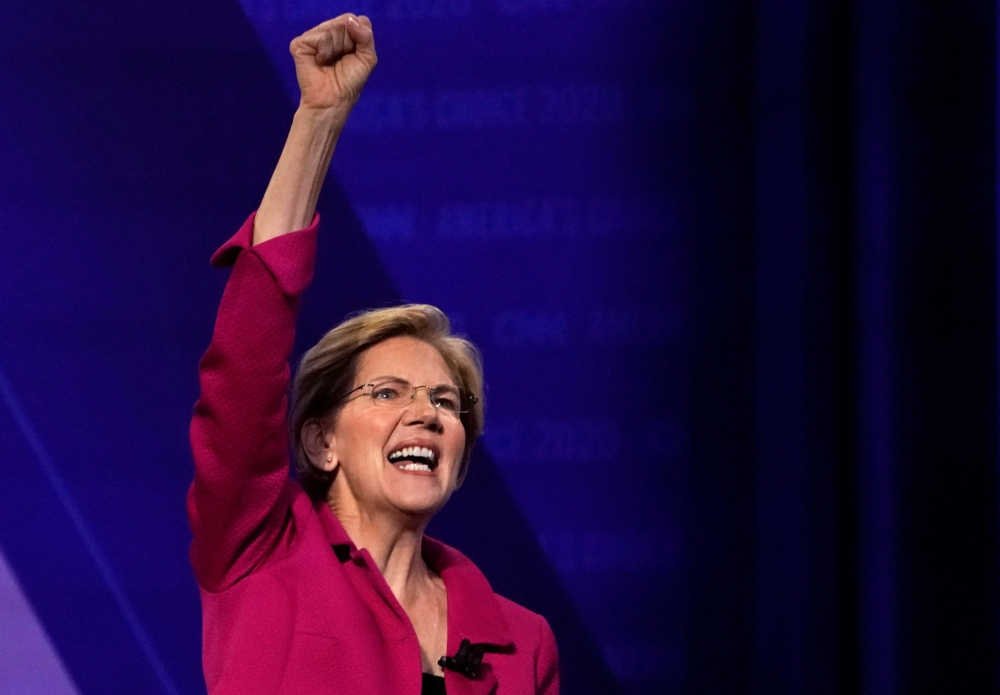 Democratic 2020 US presidential candidate Senator Elizabeth Warren (D-MA) gestures in a televised townhall on CNN in Los Angeles, California, in this Oct. 10, 2019 file photo. — Reuters