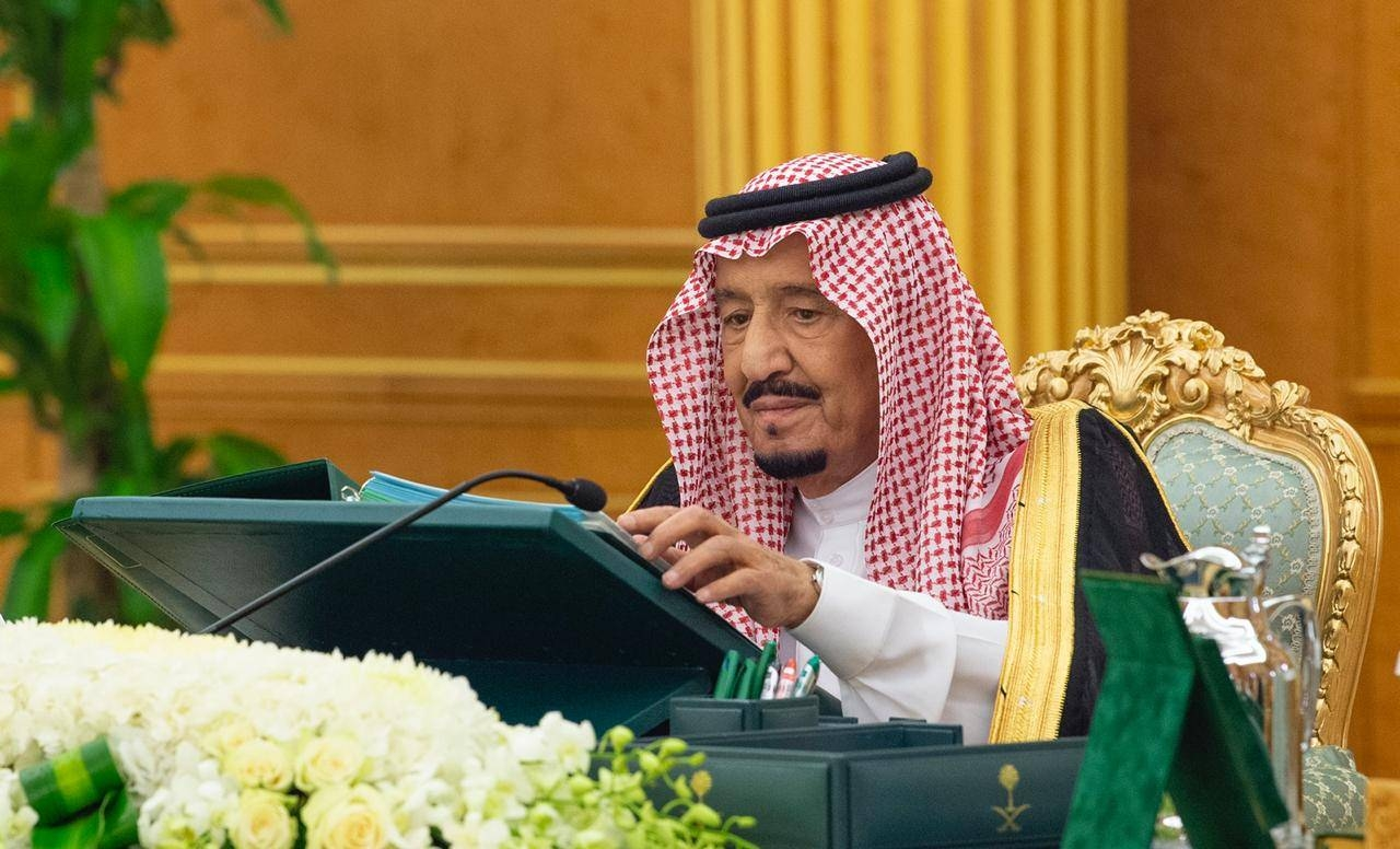 Custodian of the Two Holy Mosques King Salman chairs the Cabinet meeting at Al-Yamamah Palace in Riyadh, Tuesday. — SPA