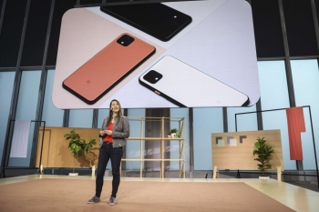 Sabrina Ellis, Google vice president of product management, introduces the new Google Pixel 4 smartphone during a Google launch event in New York City on Tuesday. — AFP