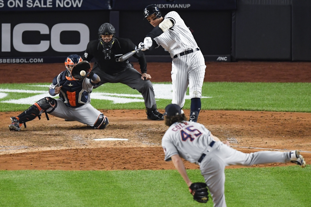 New York Yankees right fielder Aaron Judge (99) strikes out off a pitch by Houston Astros starting pitcher Gerrit Cole (45) during the seventh inning in game three of the 2019 ALCS playoff baseball series at Yankee Stadium, Bronx, NY, USA, on Tuesday. — Reuters