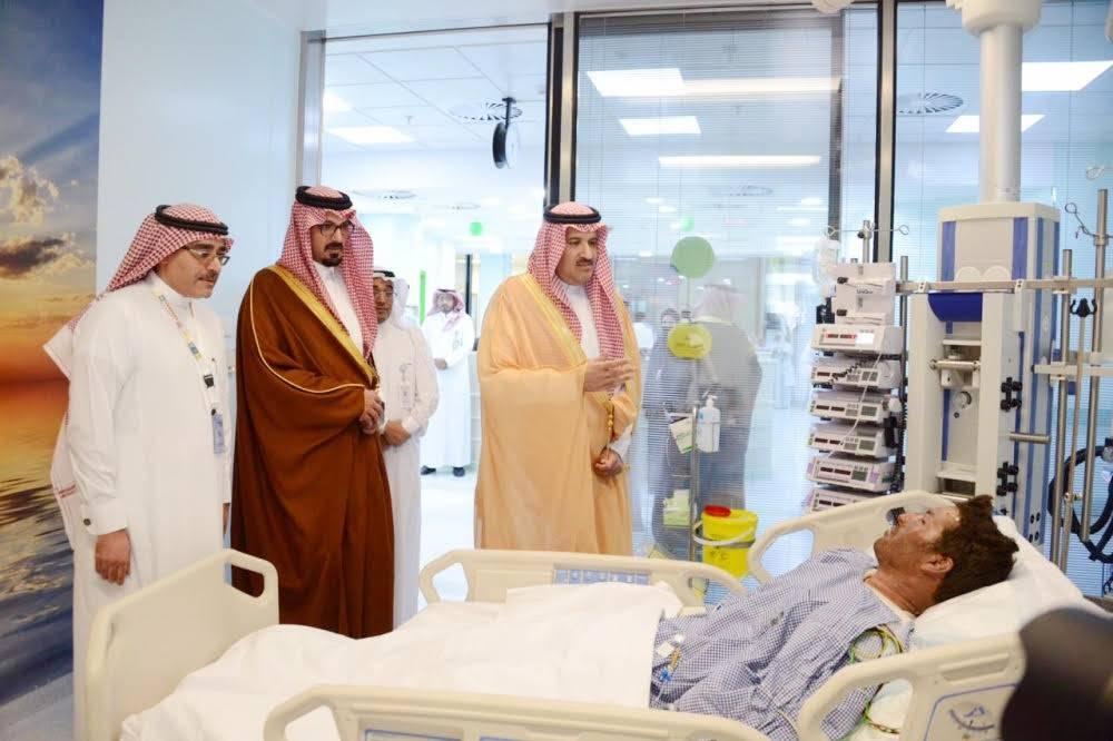 Madinah Emir Prince Faisal Bin Salman and Deputy Emir Prince Saud Bin Khaled Al-Faisal visit the injured at King Fahd Hospital in Madinah following the deadly bus crash on Thursday. – Okaz/Saudi Gazette photo