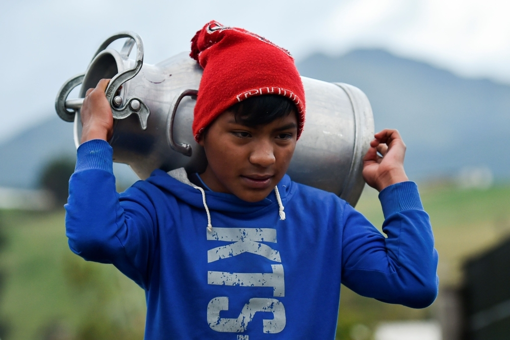 An Ecuadorean indigenous boy carries a jug with milk to sell in Cayambe, Ecuador, in this Oct. 16, 2019 file photo. — AFP