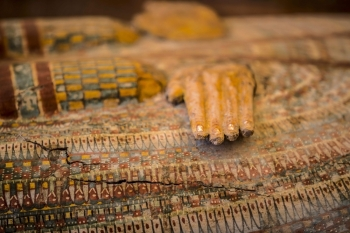 Photographs show details of sarchphagus displayed in front of Hatshepsut Temple in Egypt's valley of the Kings in Luxor. Egypt revealed a rare trove of 30 ancient wooden coffins that have been well-preserved over millennia in the archeologically rich Valley of the Kings in Luxor. — AFP photos