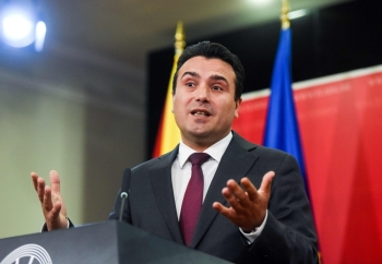 Macedonian Prime Minister Zoran Zaev gives a press conference in Skopje on Saturday. North Macedonia's prime minister called for early elections after the European Union failed to open membership talks for his Balkan state, which had been the key goal of his administration. — AFP