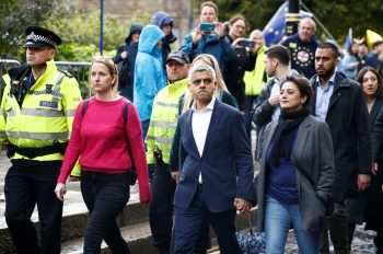 Mayor of London Sadiq Khan and his wife Saadiya Khan are pictured as parliament sits on a Saturday for the first time since the 1982 Falklands War, to discuss Brexit in London, Britain. — Reuters