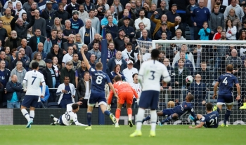 Tottenham Hotspur's Dele Alli scores its first goal against Watford at Tottenham Hotspur Stadium, London, on Saturday. — Reuters