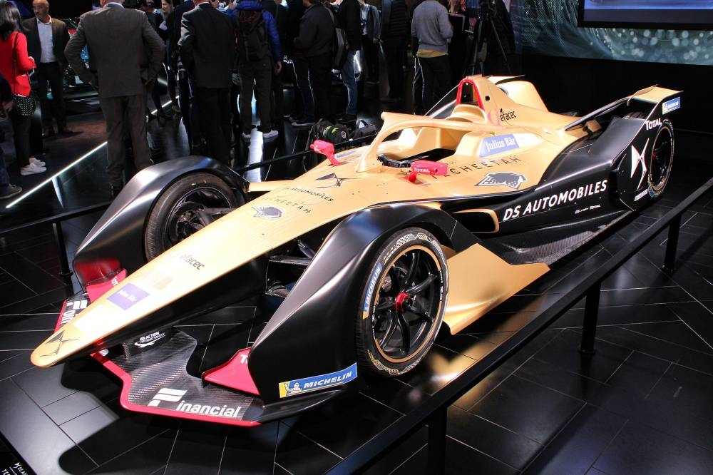 The Spark SRT05e (pictured in black and gold Techeetah livery at the 2018 Paris Motor Show) made its Formula E competition debut in the Diriyah E Prix. — Courtesy photo