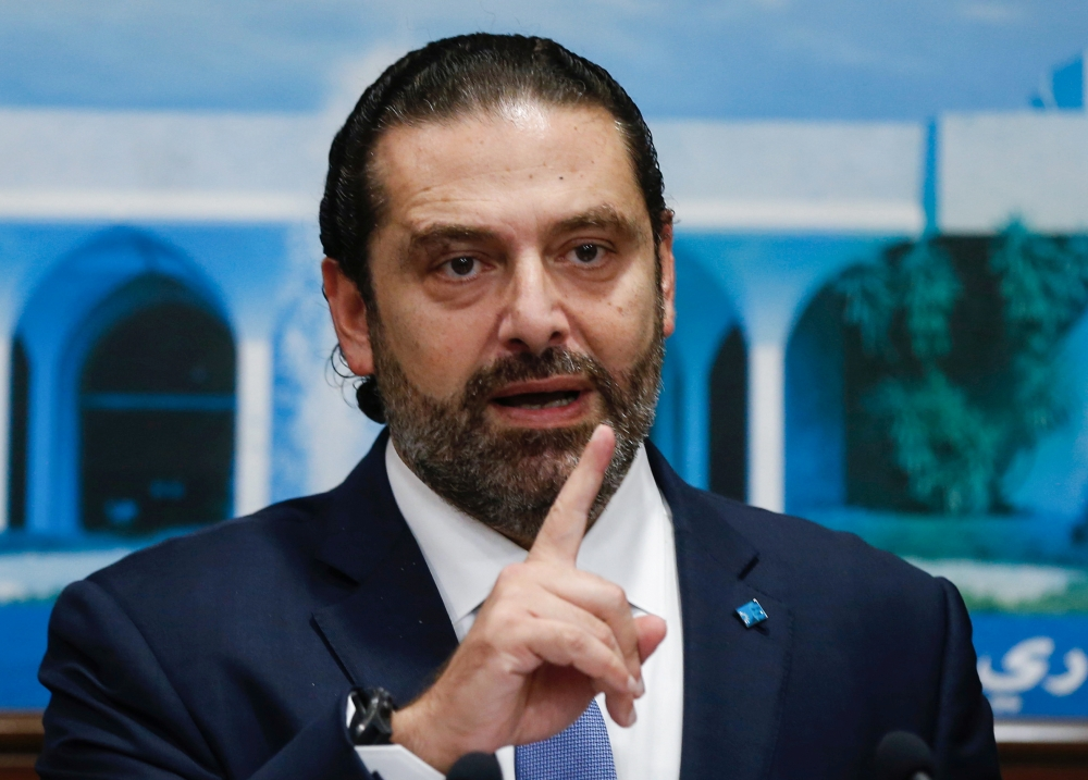 Lebanon's Prime Minister Saad Al-Hariri speaks during a news conference after a Cabinet session at the Baabda palace, Lebanon, on Monday. — Reuters