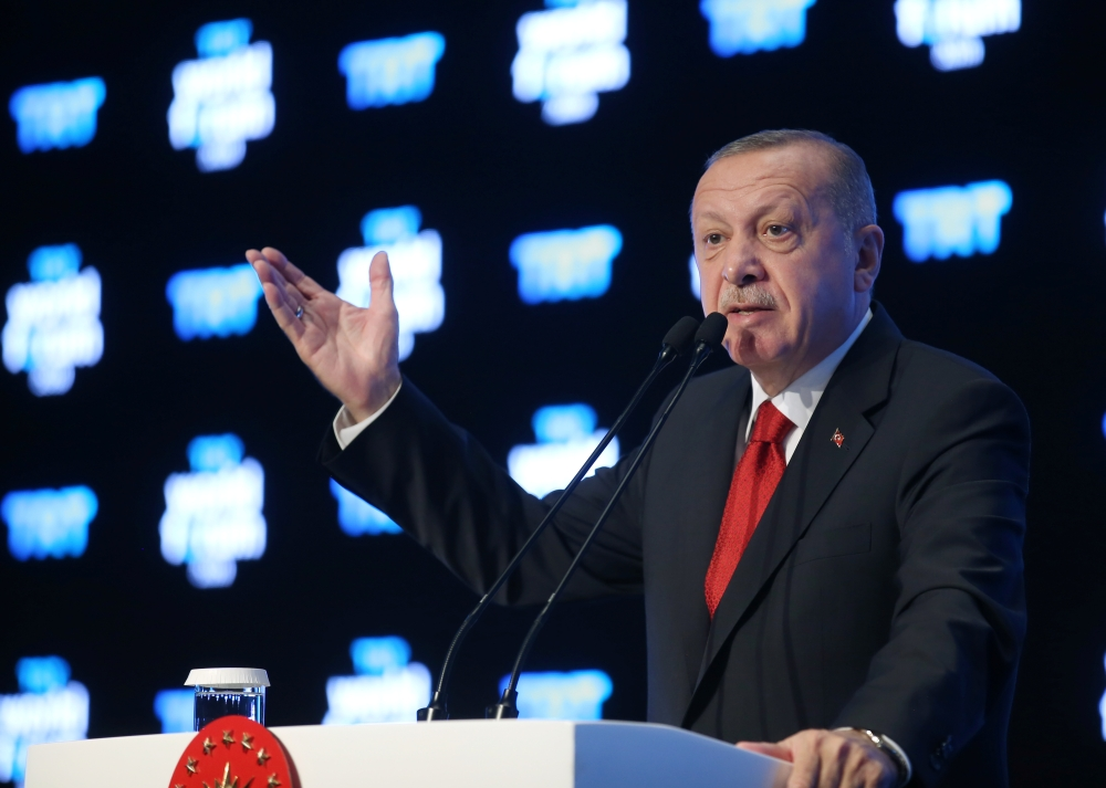 Turkish President Erdogan speaks at TRT World Forum in Istanbul, Turkey, on Monday. — Reuters