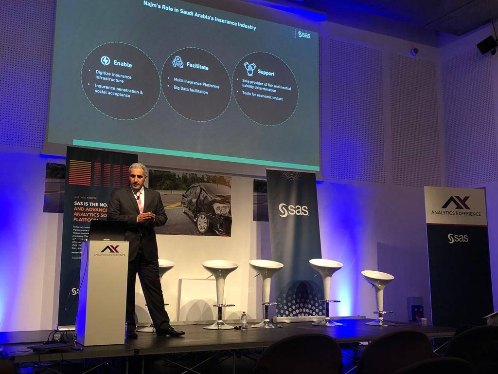 Najm's CEO Dr. Mohammad Al Suliman discusses the company's role in Saudi Arabia's insurance industry and the importance of adopting the latest artificial intelligence technologies at the SAS Global Forum 2019 in Milan, Italy.
