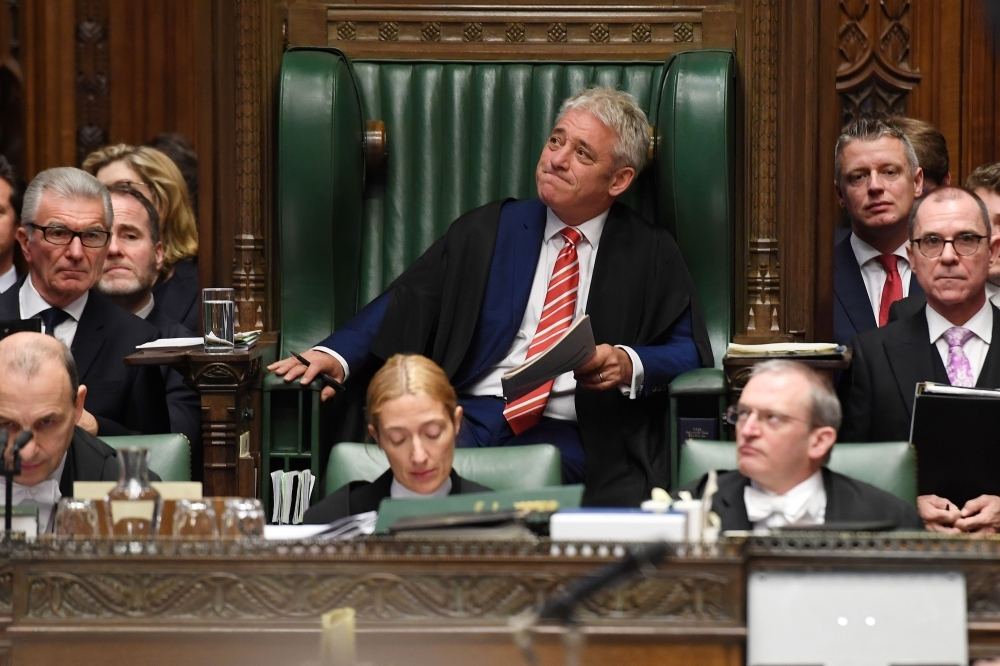 Britain's Speaker of the House of Commons John Bercow, center, makes some personal remarks to thank staff, members and family members in the House of Commons in London on Wednesday ahead of his retirement on Thursday. — AFP
