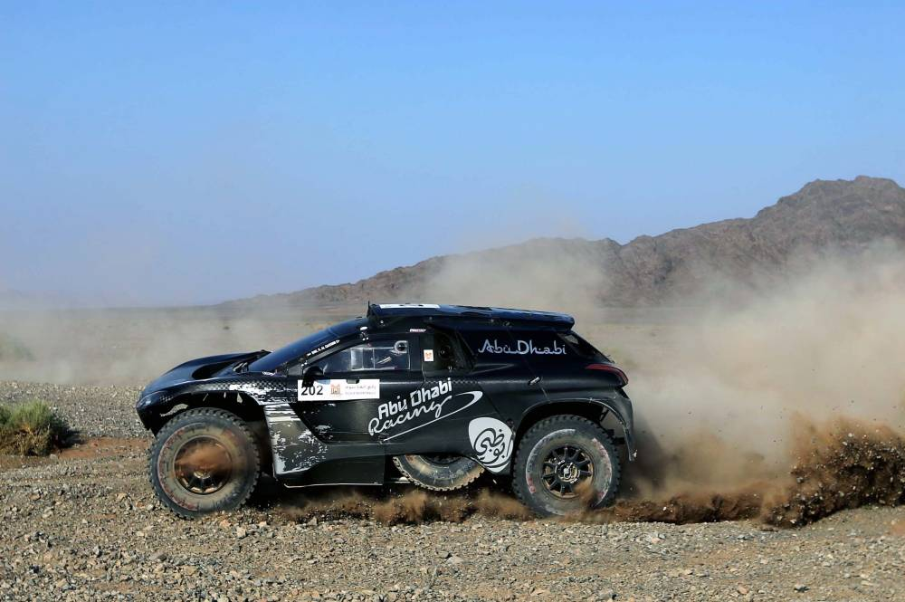 Khalid Al-Qassimi in action in the AlUla–Neom Cross-Country Rally on Friday.