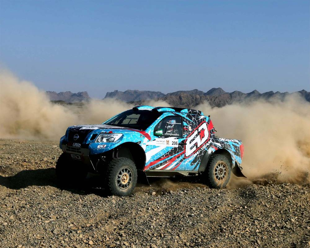 Essa Al-Dossary in action in the AlUla–Neom Cross-Country Rally on Friday.