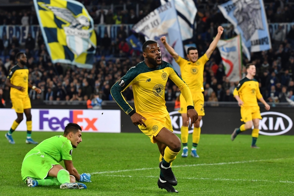 Celtic's French midfielder Olivier Ntcham (C) celebrates after scoring his team's second goal during the UEFA Europa League Group E football match against Lazio on Thursday at the Olympic stadium in Rome. — AFP