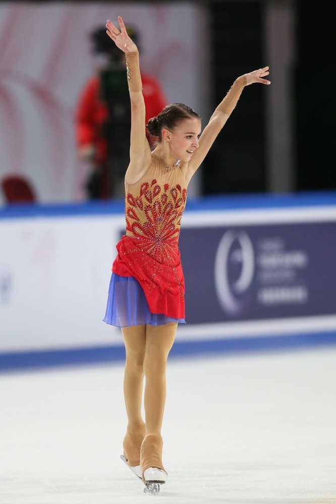 Anna Shcherbakova of Russia performs during the Ladies Short Program at the ISU Grand Prix Cup of China figure skating event in China's southwestern Chongqing on Saturday. — AFP