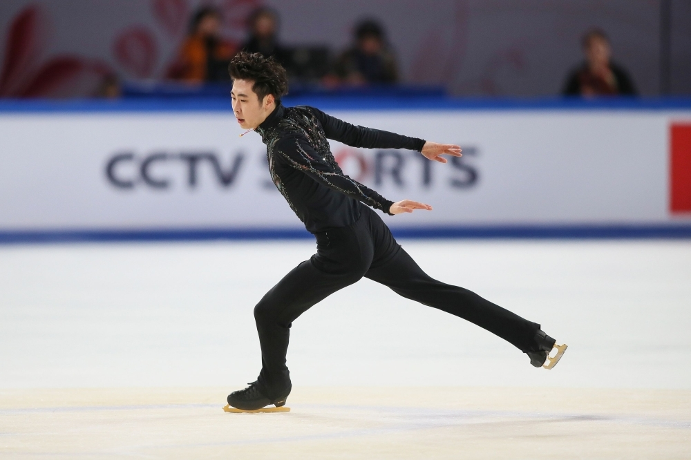 Jin Boyang of China performs during the Men's Free Skating at the ISU Grand Prix Cup of China figure skating event in China's southwestern Chongqing on Saturday. — AFP