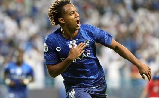 Al-Hilal's Andre Carrillo celebrates after scoring the winning goal with a header in the second half against Urawa Red Diamonds in the first leg of the AFC Champions League final at the King Saud University Stadium in Riyadh on Saturday.