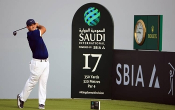 Patrick Reed of the USA hits his tee-shot on the 17th hole  on Day One of the Saudi International at Royal Greens Golf and Country Club on Jan. 31, 2019 in King Abdullah Economic City, Saudi Arabia. — AFP