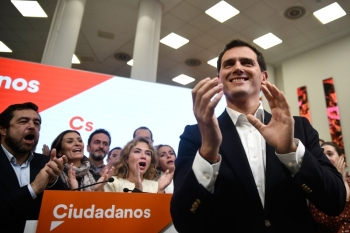 Spanish liberal Ciudadanos party leader and candidate for prime minister, Albert Rivera acknowledges applause after announcing his resignation as party leader on Monday in Madrid, a day after a repeat general election. — AFP