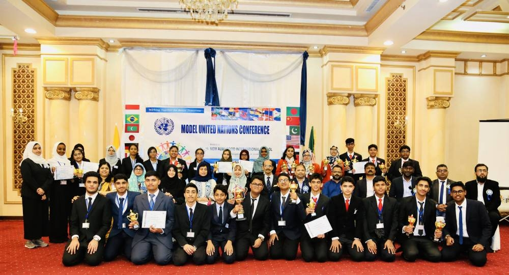 All the participants in the Model United Nations (B.E.S.T MUN) Conference hosted by New Al Wurood International School (NAWIS), Jeddah.
