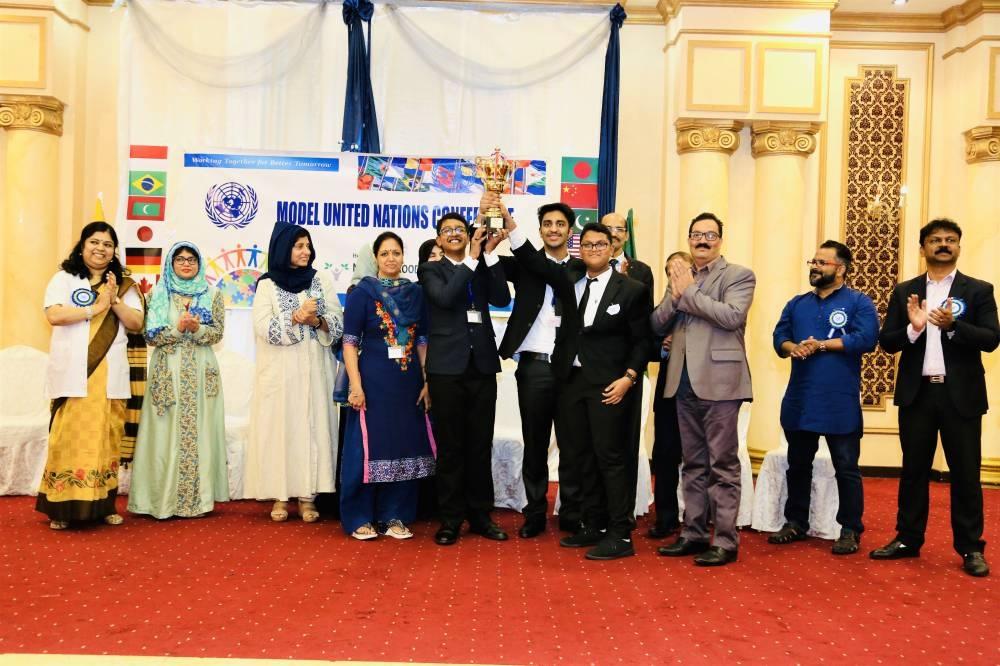 Al Khozama International School, Dammam delegates proudly hold their prize. — Courtesy photos