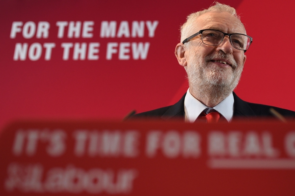 Britain's main opposition Labour Party leader Jeremy Corbyn takes part in a general election campaign event in Blackpool, northwest England, on Tuesday. — AFP