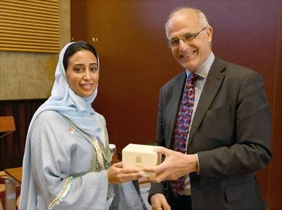 Abeer Al Saud, head of Peacebuilding Policy and Advocacy at the SDRPY (left) with British Ambassador to Yemen Michael Aron at the KSA-UK Workshop on Stabilization, Riyadh, on Tuesday. — Courtesy photo