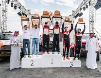 AlUla-Neom-Cross Counrty Rally winners on the podium.