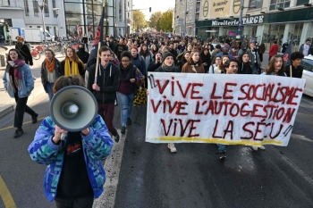 Students take part in a demonstration in Lyon on Tuesday called by French students union Solidaires days after a 22-year-old student set himself on fire over financial problems. — AFP