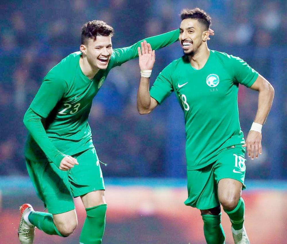 Saudi players rejoice after defeating Uzbekistan in Group D of the Asian Qualifiers on Thursday in Tashkent.