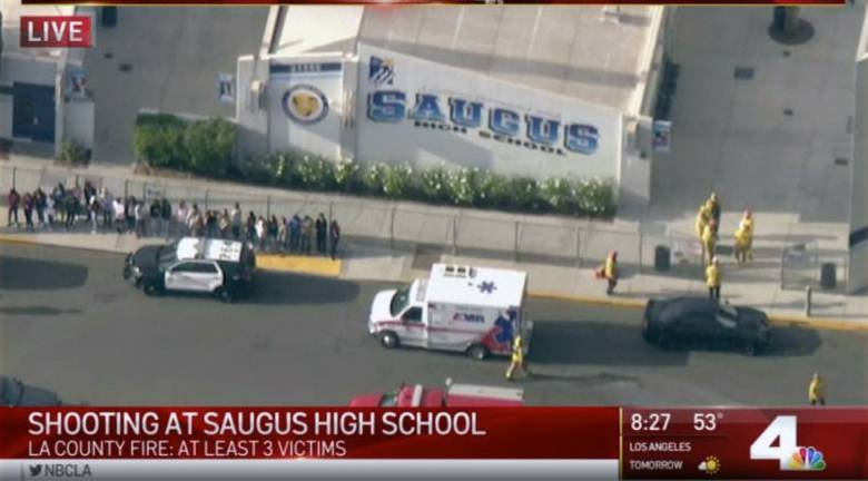 A video grab of the unfolding scenes following  a shooting at a high school north of Los Angeles, with