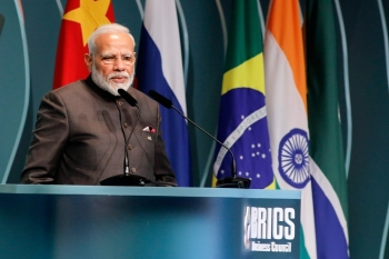 India's Prime Minister Narendra Modi speaks during the BRICS Business Council prior to the 11th edition of the BRICS Summit, in Brasilia, on Wednesday. — AFP