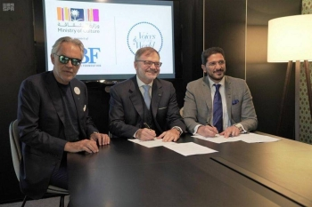 "Saudi Arabia's Ministry of Culture signed on Wednesday an agreement with the Andrea Bocelli Foundation (ABF) in Paris, bringing the ""Voices of the World"" program to the Middle East."