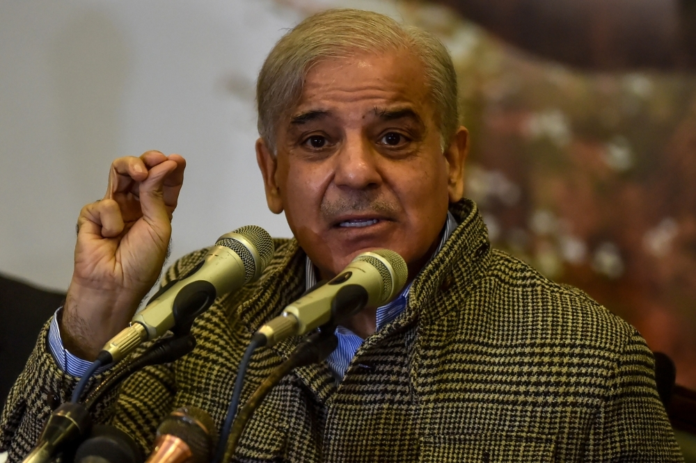 Shahbaz Sharif, opposition leader and brother of former Pakistani prime minister Nawaz Sharif, speaks during a press conference regarding his ill brother, in Lahore on Friday. — AFP