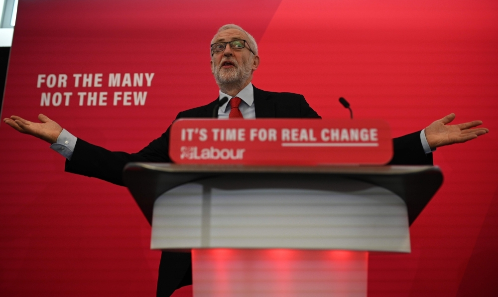 Opposition Labour party leader Jeremy Corbyn gives a speech on digital infrastructure policy at an election campaign event in Lancaster, northwest England, on Friday. — AFP