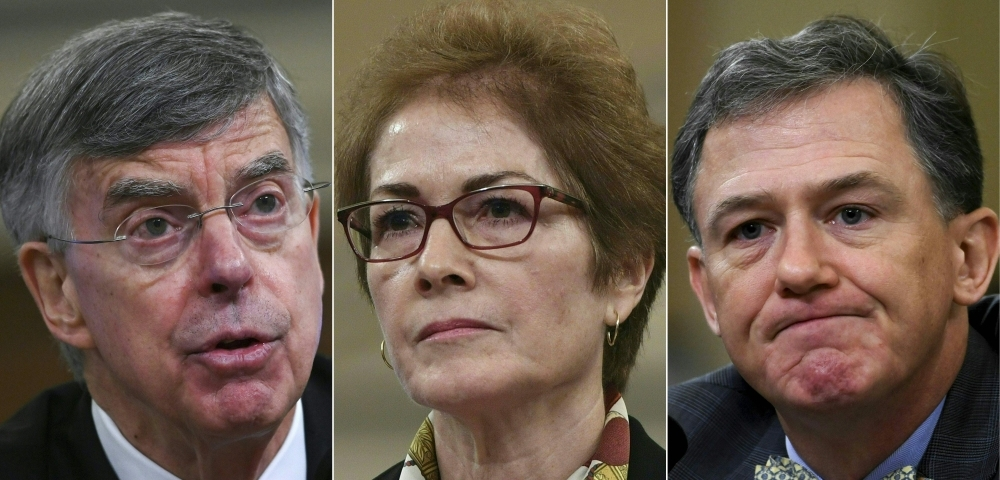 This combination of pictures created on November 18, 2019 shows from (L-R) top US diplomat in Ukraine William Taylor, former US Ambassador to the Ukraine Marie Yovanovitch and US deputy assistant secretary of state for European and Eurasian Affairs George Kent during their House Intelligence Committee public impeachment hearings of US President Donald Trump's efforts to tie US aid for Ukraine to investigations of his political opponents. -AFP
