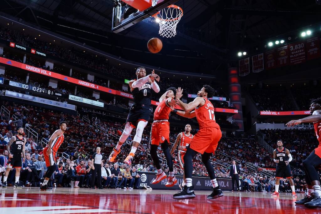 Russell Westbrook (0) of the Houston Rockets passes the ball during the game against the Portland Trail Blazers at the Toyota Center in Houston, Texas on Monday. — AFP