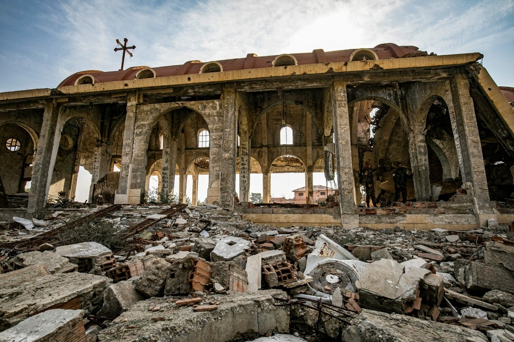 A view of the Assyrian Church of the Virgin Mary, which was previously destroyed in 2015 by Daesh (the so-called IS) fighters, in the village of Tal Nasri south of the town of Tal Tamr in Syria's northeastern Hasakah province in this Nov. 15, 2019 file photo. — AFP