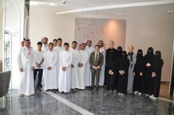 CEO of NEOM project, Nadhmi Al-Nasr, meets with the first batch of students to benefit from an external scholarship program sponsored by the developer. — SPA