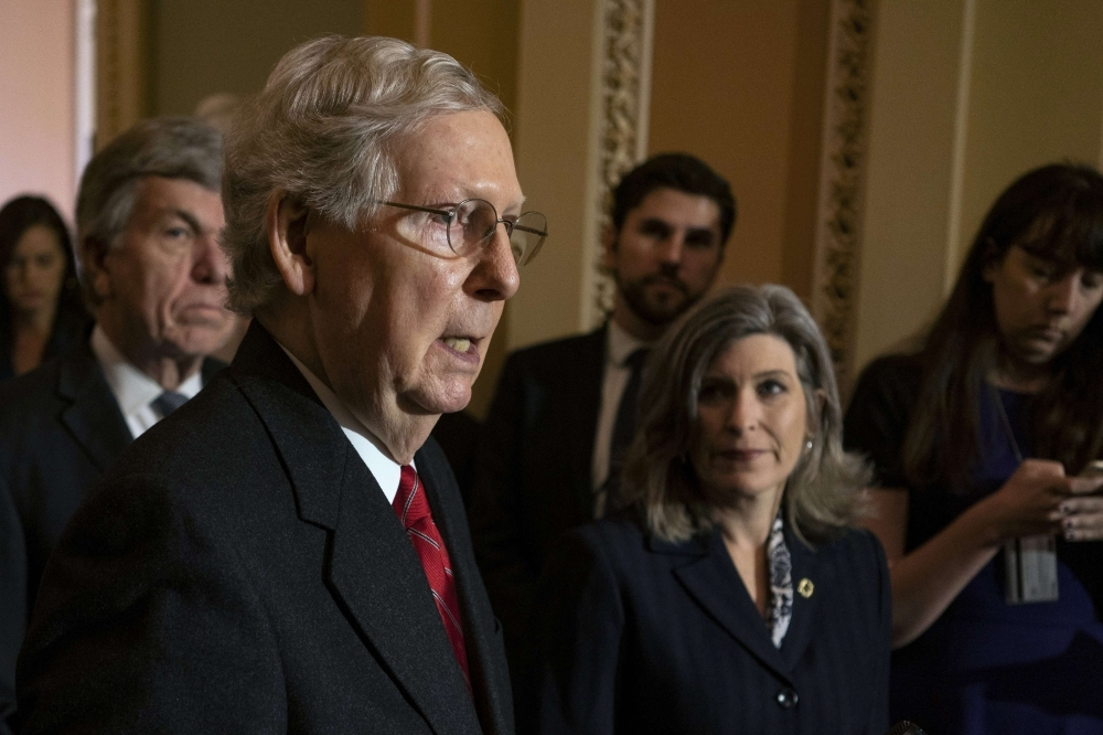 Senate Majority Leader Mitch McConnell (R-KY) speaks during his weekly press conference at the US Capitol in Washington on Wednesday. — AFP