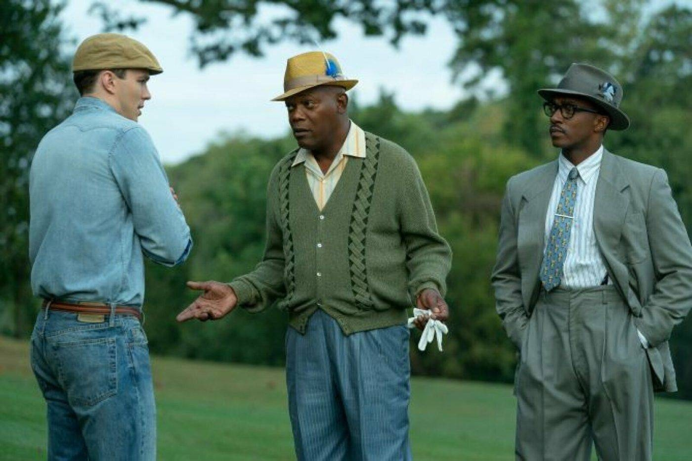 Nicholas Hoult, left, Samuel L. Jackson, center, and Anthony Mackie are seen in this still image taken from the movie 'The Banker'. — Courtesy photo
