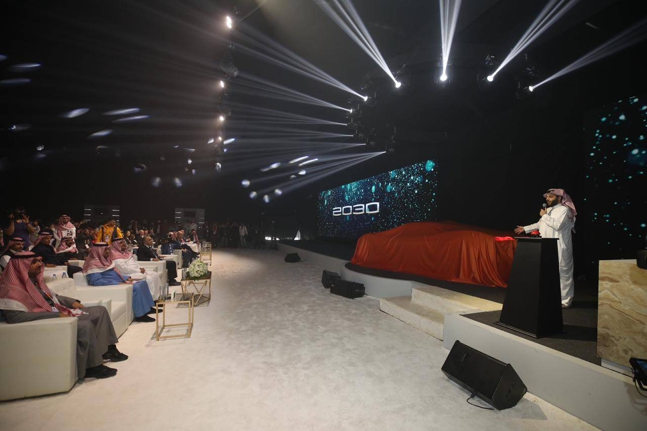 """Turki Al-Sheikh, Chairman of the Board of Directors of the General Entertainment Authority (GEA) and President of Riyadh Season, unveils on Thursday a car of the future called """"Car 2030"""" in the Riyadh Motor Show."""