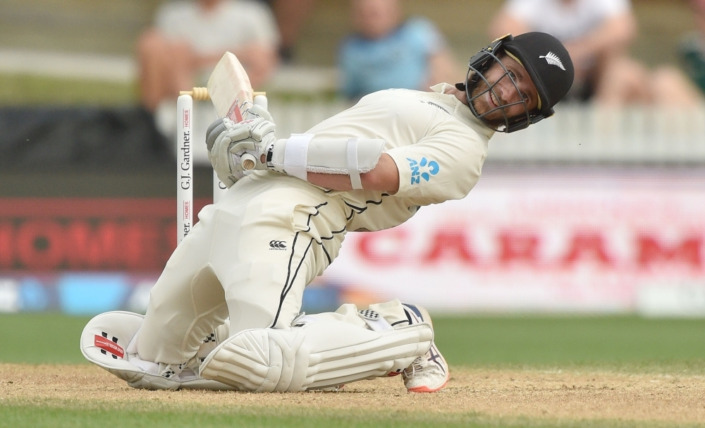 New Zealand captain Kane Williamson dodges a bouncer from England's Jofra Archer on day four of the second cricket Test between England and New Zealand at Seddon Park in Hamilton, on Monday. — AFP