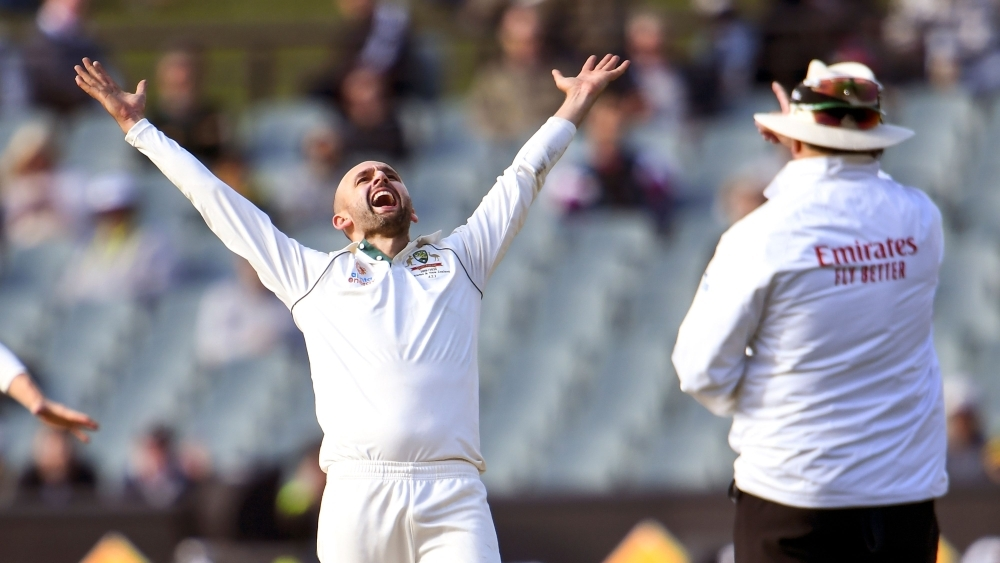 Australia's spinner Nathan Lyon reacts after appealing successfully for a LBW decision against Pakistan's batsman Yasir Shah on the fourth day of the second Test cricket match in Adelaide, on Monday. — AFP