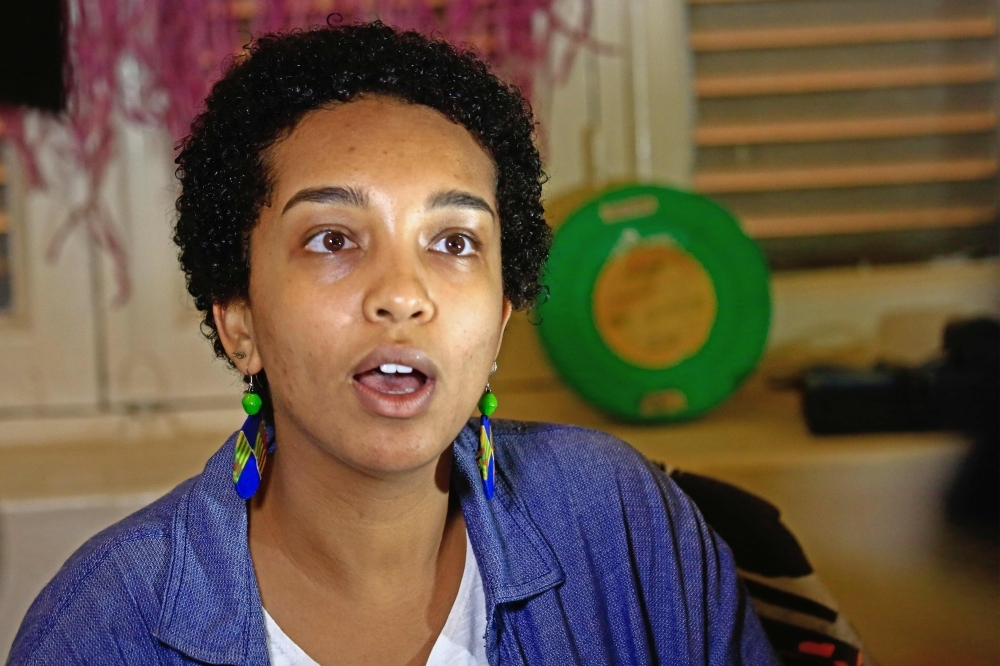 """Hadeel Othman, Information and communication manager of the """"Sudan Film Factory,"""" speaks  in the Sudanese capital Khartoum in this Nov. 11, 2019 file. — AFP"""