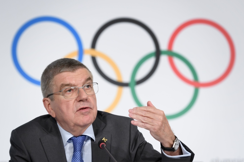 International Olympic Committee (IOC) president Thomas Bach attends a press conference following an executive board meeting at the IOC headquarters in Lausanne, on Thursday. — AFP