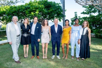From left to right: Producer Michael G. Wilson with cast members Léa Seydoux, Cary Joji Fukunaga, Ana de Armas, Daniel Craig, Naomie Harris, Lashana Lynch and producer Barbara Broccoli attend the 'Bond 25' Film Launch at Ian Fleming's Home 'GoldenEye', in Montego Bay, Jamaica, in this April 25, 2019 file photo. — AFP