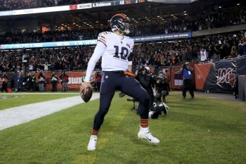 Chicago quarterback Mitchell Trubisky celebrates after scoring a fourth-quarter touchdown in the Bears' NFL victory over the Dallas Cowboys. — AFP