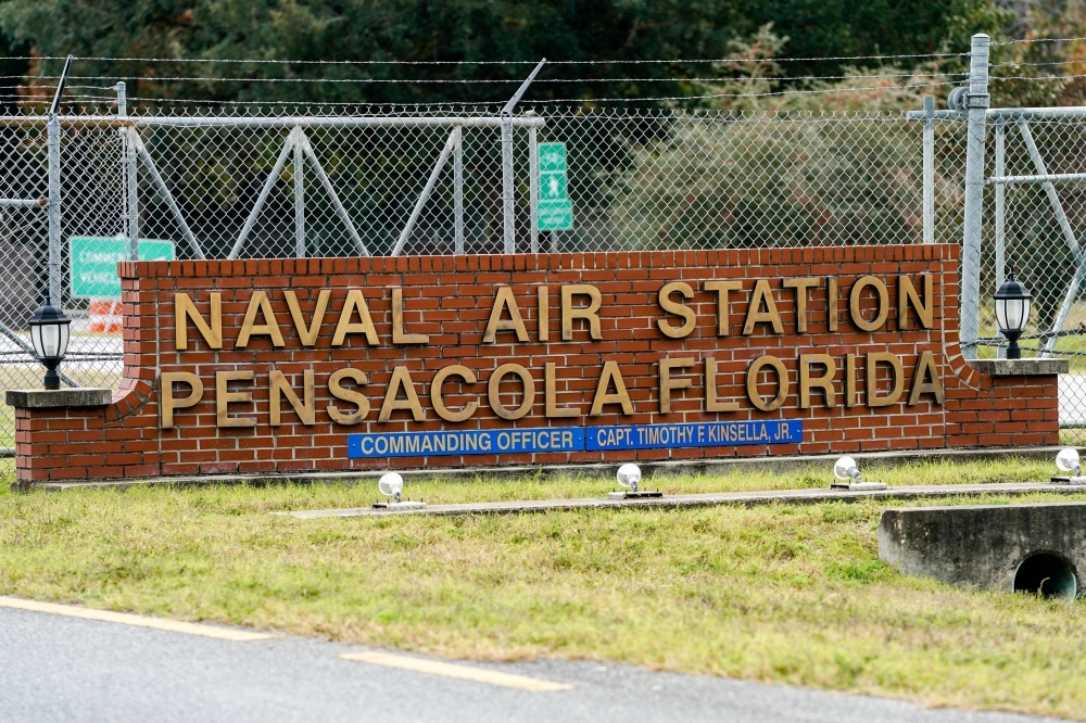 A general view of the atmosphere at the Pensacola Naval Air Station following a shooting on Dec.06, 2019 in Pensacola, Florida. (AFP)